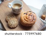 morning coffee with pastry... | Shutterstock . vector #775997680