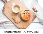 morning coffee with pastry... | Shutterstock . vector #775997683