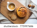 morning coffee with pastry... | Shutterstock . vector #775997686