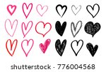set of hand drawn heart. red... | Shutterstock .eps vector #776004568