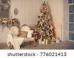 decorated room with christmas... | Shutterstock . vector #776021413