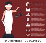 lady justice or iustitia vector ... | Shutterstock .eps vector #776024590