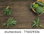 herbs and fresh bean on wooden... | Shutterstock . vector #776029336
