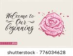 bridal greeting card with rose... | Shutterstock .eps vector #776034628