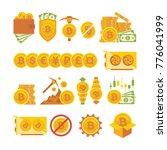 bitcoin icon set. bitcoin... | Shutterstock .eps vector #776041999