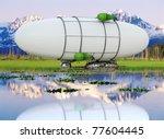 zeppelin flying on the lake | Shutterstock . vector #77604445