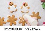 decorating gingerbread cookies... | Shutterstock . vector #776059138