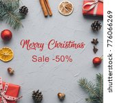board with post merry christmas ... | Shutterstock . vector #776066269