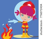 cute little fire fighter in... | Shutterstock .eps vector #776072434