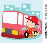 cute little fire fighter in... | Shutterstock .eps vector #776072440