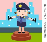 cute little police man in... | Shutterstock .eps vector #776074378