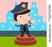 cute little police man in... | Shutterstock .eps vector #776074390