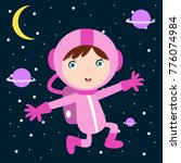 cute little astronaut kid in... | Shutterstock .eps vector #776074984