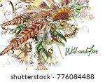 boho tribal botanical... | Shutterstock .eps vector #776084488