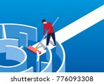 businessman clears obstacles | Shutterstock .eps vector #776093308