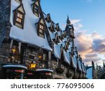 snow village at sunset in... | Shutterstock . vector #776095006