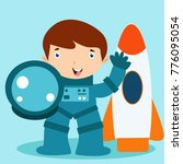 cute little astronaut kid in... | Shutterstock .eps vector #776095054