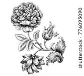 Rose flower vintage Baroque Victorian floral ornament frame border leaf scroll engraved retro pattern decorative design tattoo black and white filigree calligraphic vector  | Shutterstock vector #776095090