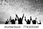 silhouette of people during... | Shutterstock . vector #776103160