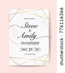 wedding card template with... | Shutterstock .eps vector #776116366