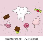 a sad tooth fly away from many... | Shutterstock . vector #77613100