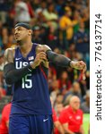 Small photo of RIO DE JANEIRO, BRAZIL - AUGUST 10, 2016: Olympic champion Carmelo Anthony (number 15) of Team USA in action at group A basketball match between Team USA and Australia of the Rio 2016 Olympic Games