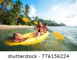 asian boy and girl play kayak... | Shutterstock . vector #776156224