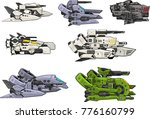 a set of various space ship for ... | Shutterstock .eps vector #776160799