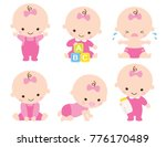 cute baby or toddler girl... | Shutterstock .eps vector #776170489