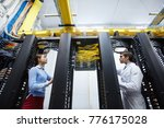 staff of modern mining farm... | Shutterstock . vector #776175028