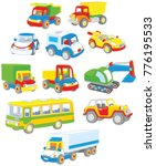 Stock vector vector set of toy cars trucks and buses 776195533