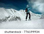 Woman Stay On The Ski And Shoo...