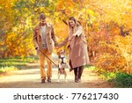 Stock photo young couple walk in the autumn park 776217430