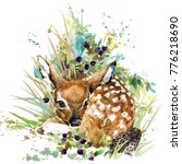 Stock photo fawn forest deer wild animals watercolor illustration 776218690