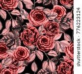 watercolor flower seamless... | Shutterstock . vector #776223124