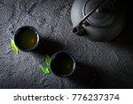 closeup of healthy green tea in ... | Shutterstock . vector #776237374