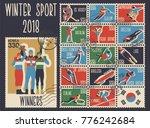 winter sport games 2018 postage ... | Shutterstock .eps vector #776242684