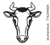 Cow Head Illustration Isolated...
