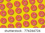 flat design with sweet donut.... | Shutterstock .eps vector #776266726