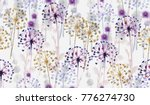 seamless watercolor wild floral ... | Shutterstock . vector #776274730