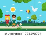 boy and girl in park. kids in... | Shutterstock .eps vector #776290774