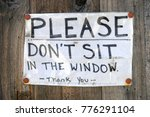 paper sign please don't sit in... | Shutterstock . vector #776291104