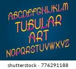 tubular art typeface. gradient... | Shutterstock .eps vector #776291188