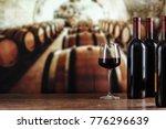 Wine Cellar With Wine Bottle...