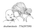 sketch of 5 year old girl... | Shutterstock .eps vector #776297590