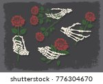 bones and roses. traditional... | Shutterstock .eps vector #776304670