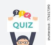 hands holding quiz signboard... | Shutterstock .eps vector #776317390