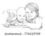 sketch of 5 year old girl...   Shutterstock .eps vector #776319709
