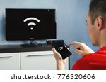 connectivity between smart tv... | Shutterstock . vector #776320606