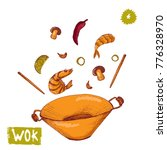 wok colorful hand drawn vector... | Shutterstock .eps vector #776328970
